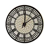 Pealrich 12 Inch Silent Non-Ticking Wall Clock Face of Big Ben in London Round Clocks Home Office Classroom School Clocks, Easy to Read