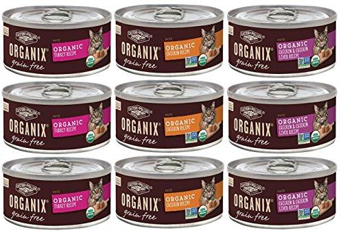 Organix Grain Free Canned Cat Food Pate 3 Flavor Variety Bundle: 3 Organic Turkey Pate Recipe, 3 Organic Chicken Pate Recipe, 3 Organic Chicken-Liver Pate Recipe, 3Oz Each 9 Cans Total