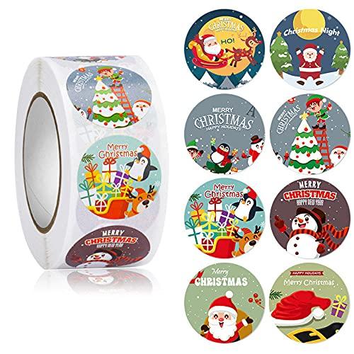 WIONE 5 rollos * 500PCS Regalo de Navidad Pegatinas adhesivas hechas a mano, ticker Roll, Pegatinas para pequeñas empresas, Sellado de artes y manualidades, para catering Tarros de comida Pegatinas ad