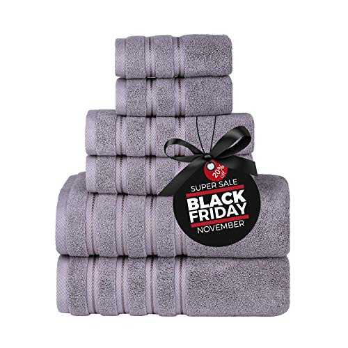 Luxury Turkish Towels Bathroom Sets Clearance 6 Piece Bath Towel Set  2 Bath Towels, 2 Hand Towels, 2 Washcloths, Super Soft Highly Absorbent Grey