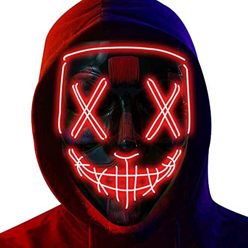 LED Máscaras Halloween, Purge Mask para Carnaval, Led Mascaras 3 Modos de...