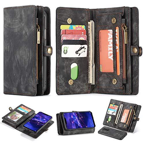 Simicoo Mate 20 lite Leder Schutzhülle mit 11 Kartenfächer Standfunktion Reißverschluss Abnehmbare Magnetverschluss Robuste Silikon Brieftasche Tasche Case Handtasche für Mate 20 Lite (Black)