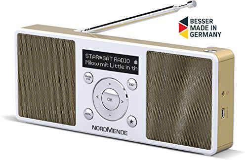 Nordmende Transita 200 tragbares Stereo DAB Radio (DAB+, UKW, FM, Lautsprecher, Kopfhörer-Anschluss, Favoritenspeicher, OLED-Display, Akku, klein, tragbar) weiß