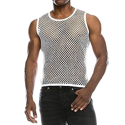 Men's Sexy Fashion Mesh Vest Top Gym Training Tank Top T Shirt Fishnet See-Through Sleeveless Underwear Shirts White