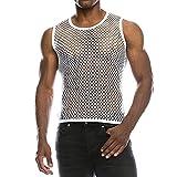 Chaleco Camiseta de Malla Hombre Lencería Erótica Fishnet Transparente sin Mangas Top Apretada Muscular Traje de Fiesta Clubwear para Hombres