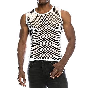 sweetnice man clothing Mens Sexy Mesh Tank Top Sleeveless Transparent Undershirts Fishnet Muscle Workout T-Shirts White