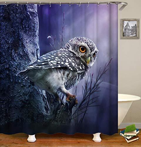xdai Duschvorhänge Eule auf einem AST Badvorhang Wasserdichtes Polyester Für Badzubehör Mit 12 Stück Haken Bad Badewanne Dekor-200x200cm