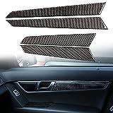 zzwllong 4 unids/Set Pegatina de Panel de Puerta Interior de Coche calcomanías de molduras Interiores decoración antirrayas de Fibra de Carbono 3K, para Mercedes-Benz W204 07-14