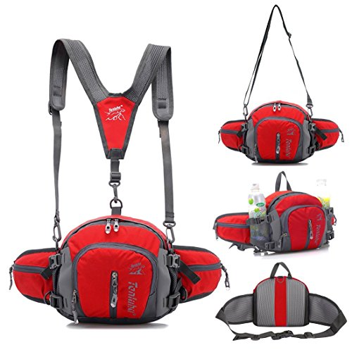 TOP-UP Multifunctional Water Resistant Outdoor Waist Pack Backpack Shoulder Bag Daypack with Water Bottle Pockets Waist Bag Fanny Pack for Running Hiking Camping Cycling Traveling (Red)