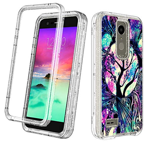 Lamcase for LG K10 2018/K30 2018, LG Xpression Plus/Premier Pro/Phoenix Plus/Harmony 2 Case Clear Glitter Sparkly Bling Heavy High Impact Shockproof Three Layer Sturdy Drop Protective Cover,Life Tree