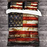 KDRW Funda de edredón ropa de cama y ropa de cama edredón y funda de edredón Bedding Set Closeup of American Flag On Boards 3 Piece Duvet Cover Set Wrinkle Resistant Bed Quilts with Zipper Closure Com