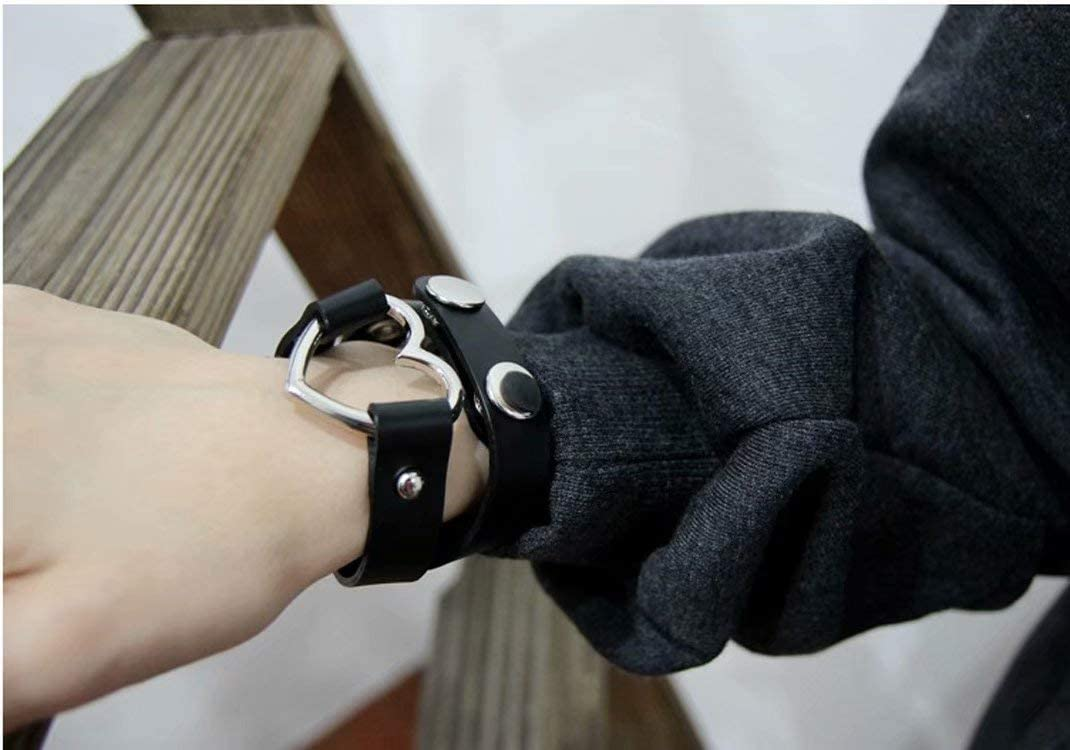 ZheJia PU womens Men Heart Goth Fans Love Heart Choker Leather Necklace 1X Fashion Chain Punk Collar Blue