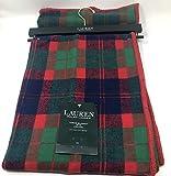 Lauren Ralph Tartan Plaid Brushed Cotton Throw Blanket 54' x 72' - Blue Red Green