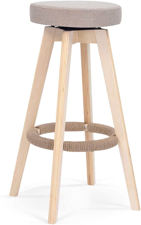 Ghjkl European-Style bar stools Wood bar Stool Retro bar Stool Simple redation high Stool bar Stool Front Desk seat Height 74cm -by TIANTA (color   B)