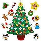 Mocoosy Árbol de Navidad de fieltro, 3,2 pies Bricolaje Sintió Árbol de Navidad para regalos de niños Artesanía de fieltro con 32 piezas de adornos navideños Decoraciones Colgantes De Navidad