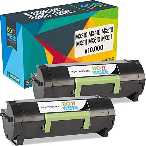 Do It Wiser Compatible Toner Cartridge Replacement for 60F1H00 601H Lexmark k MX310dn MX410de MX511de MX310 MX410 MX510 MX511 MX610 MX611 (10,000 Pages) 2-Pack