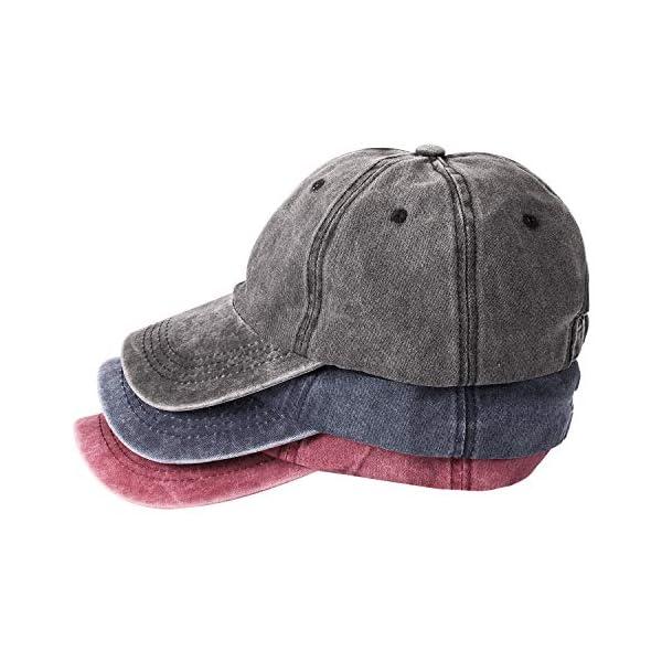 MNXA 3 Pack Washed Plain Baseball Cap, Retro Adjustable Sun Dad Gift Hats for Men/Women,Unstructured/Cotton