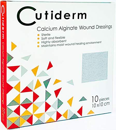 Cutiderm Calcium-Alginat Wundverband, 10 x 10 cm, geeignet für Schnitte und Platzwunden, postchirurgische Wunden, nässende Wunde einschließlich venöser, arterieller und Diabetikgeschwüre, 10 Stück