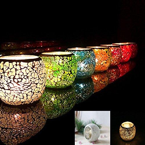 Bougeoir en mosaïque de verre - Lumignon romantique vintage fait à la main pour décoration d'intérieur, cadeau de mariage, Verre, beige