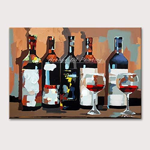 SUNFFFW Pintura A Mano Copa De Vino Pintura Al Óleo sobre Lienzo Moderno Breve Resumen Sin Marco Moda Comedor Pinturas Decorativas
