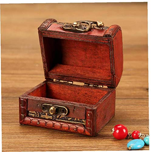 Box Vintage Wood Handmade Box with Mini Metal Lock for Storing Pearl Display Stand Store