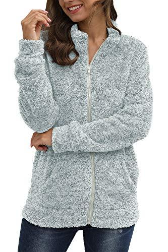 Women's Fleece Cardigan Long Sleeve Warm Fuzzy Fluffy Pockets Full Zip Sherpa Jacket Silver XL