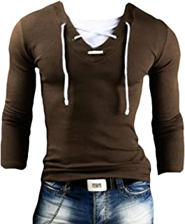 Mens Cotton Casual Tops Tee Classic Fit Long Sleeve Lace up Basic Shirts
