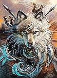 FGHJSF Pintura por Números Lobo Animal DIY Pintura al óleo con Pinceles y Pinturas para Adultos Niños Principiantes Decoración del Hogar Y Regalo - 40 x 50 cm (Sin Marco)