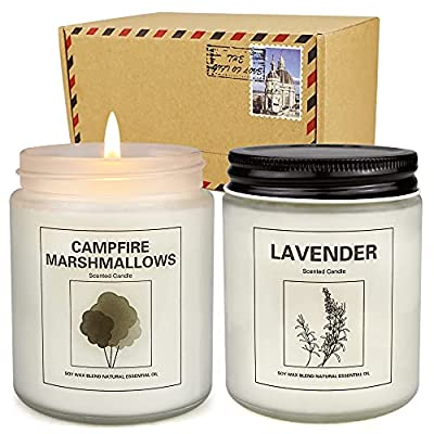 2 Pack Candles for Home Scented, 100 Hours Large Jar Candle Set for Home Decoration, 7.2oz Soy Wax Long Lasting Lavender and Mashmallow Aromatherapy Candle Birthday Gifts for Women from Rachan