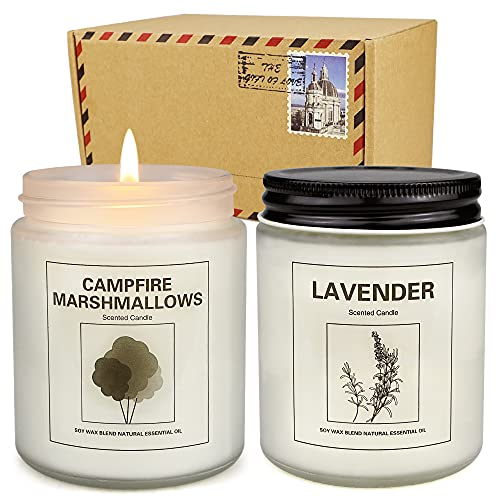 2 Pack Candles for Home Scented, 100 Hours Large Jar Candle Set for Home Decoration, 7.2oz Soy Wax Long Lasting Lavender and Mashmallow Aromatherapy Candle Birthday Gifts for Women