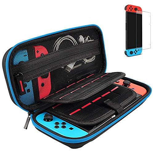 Hestia Goods Switch Case and Tempered Glass Screen Protector for Nintendo Switch - Hard Shell Travel Carrying Case Pouch Case for Nintendo Switch Console & Accessories, Streak Blue …