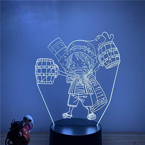 Lámpara de ilusión 3D Luz de noche LED Anime Luffy Cute Cheers Muñeca móvil Lámpara de mesa táctil de 7 colores Decoración Oficina en casa Restaurante Fiesta Niño Niña Regalo
