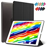 New iPad 9.7-inch 2018 2017 Case, ROARTZ Black Slim-Fit Smart Rubber Folio Hard Translucent Frosted Cover Light-Weight Wake Sleep for Apple iPad 5th 6th Generation Model A1893 A1954 A1822 A1823