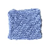 Coberllus Newborn Baby Photo Props Blanket Handmade Knitted Twist Wrap Posing Aid Backdrops For Boy Girls Photography Shoot (Blue)