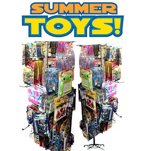 Fantastic Deal! 192 PC SUMMER PRE MIXED TOYS ON SPINNER RACK, Case of 192