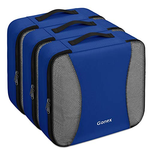 Gonex – 3 Packs Organizador para Maletas/Viaje Bolsas de Embalaje/Almacenaje Ultraligeros Multifuncionales Rip-Stop de Nylon Azul