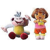 Dora The Explorer Plush Dora 11.5' & Monkey 9' 2pcs Set Doll Stuffed Animals Figure Soft Anime Collection Toy