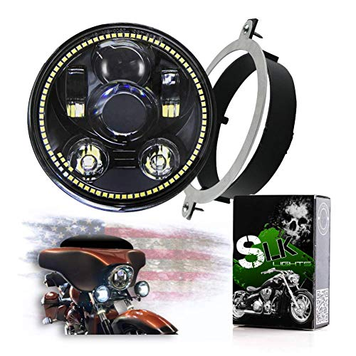 "SLK-Customs VTX 5 3/4"" LED Black Daymaker Headlight Kit - Bracket & Hardware - Plug & Play - Compatible Honda VTX 1300 & Honda VTX 1800 non-F models (Black/White Halo)"