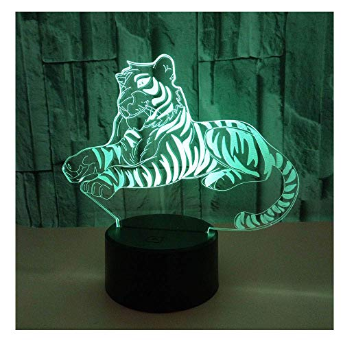 Comiwe Tiger 3D Illusion Night Light Toys,16 Colours Change Smart Touch & Remote Control,Home Decor LED Bedside Table Desk Lamp,Christmas Birthday Gift for Girls Boys Kids Adults Friends & Family