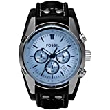 Fossil Men's Coachman Quartz Leather Chronograph Watch, Color: Silver, Black (Model: CH2564)