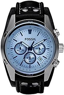 Fossil Coachman Reloj de cuarzo para hombre de acero inoxidable y cuero Casual Cuff Watch