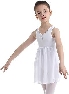fc3b6376162 Freebily Enfants Filles T-Shirt Robe de Ballet Danse Classique Justaucorps  Gymnastique Dos Ouvert Coton