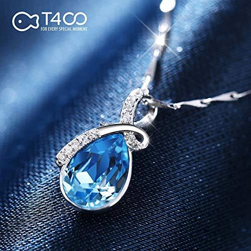 『T400ジュエリー レディースネックレス シルバー925 青い クリスタル 雫モチーフネックレス プレゼント(チャェン:40+5CM))』の5枚目の画像