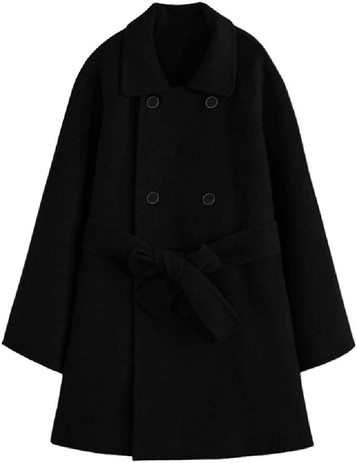 Buildhigh Womens Poncho Topcoat DoubleBreasted Outwear Solid Woolen Jacket