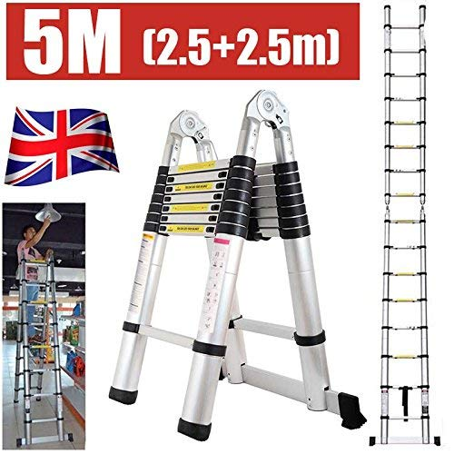 5M Folding Telescopic Multi Purpose Ladder 8X2 Steps Climb Extension Herringbone 2.5+2.5m Home Loft Portable Light Weight DIY Attic Ladder, UK Stock