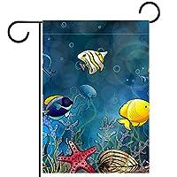 ガーデンフラグウェルカムバナーフラグヤードガーデン屋外装飾オールシーズンの垂直両面アートフラグ水中熱帯魚珊瑚