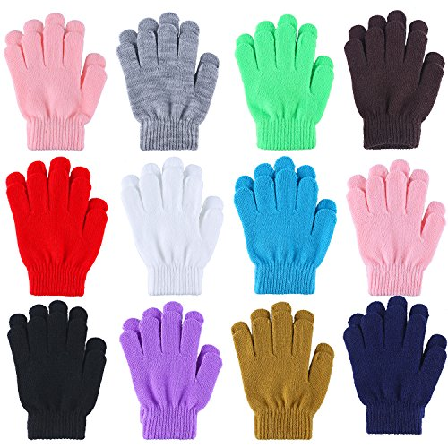Cooraby 12 Pairs Kid's Winter Magic Gloves Children Stretchy Warm Magic Gloves Boys or Girls Knit Gloves (12 Mixed Color)