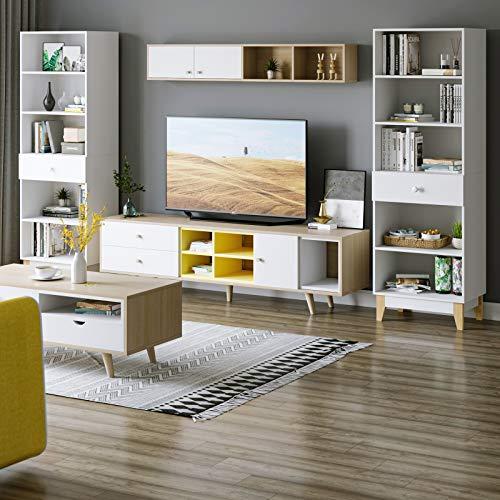 Homfa 189cm 2X Bücherregal Bücherschrank Hochschrank Raumteiler Vitrine Standregal mit Schublade 5 Fächer weiß