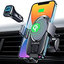 [2021 Upgraded] Wireless Car Charger Mount,VANMASS 15W Auto Clamping, Thermostatic Fast Charging, Air Vent Holder Charger for iPhone 12 11 XR XS X 8, Samsung S21 S20 S10 S9 Note 20, Pixel 4XL 3XL,LG