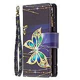 Blllue - Custodia a portafoglio compatibile con Huawei P40 Pro, con tasca con cerniera, motivo colorato, in pelle PU, con 9 scomparti per carte di credito per P40 Pro - Big Butterfly